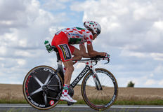 Polka-Dot Jersey- The Cyclist Thomas Voeckler. Beaurouvre,France, July 27 2012:Image of the French cyclist Thomas Voeckler (Team Europcar) wearing The Polka-Dot Royalty Free Stock Image