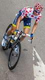 Polka-Dot Jersey- Michael Morkov. Rouen,France,July 5th, 2012: The Danish cyclist Michael Morkov (Team Saxo Bank- Thinkoff Bank) wearing Polka-Dot Jersey and Royalty Free Stock Photo