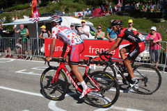 Polka-dot jersey in the mountain Royalty Free Stock Photography