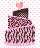Polka Dot Leopard Zebra Wedding Cake Stock Photography