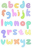 Polka dot lower case alphabet with stitches Royalty Free Stock Image