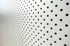 Polka dot. Many hole dot in white aluminum Sheet Stock Photo