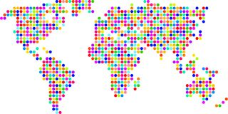 Polka dot map Stock Images