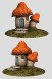 Polka dot mushroom house Stock Photo