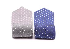 Polka dot neckties. Close up. Polka dot neckties. Gray and blue ties. Close up Royalty Free Stock Photos