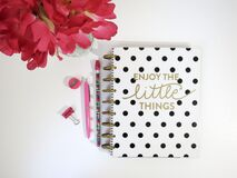 Polka dot notebook Stock Photo