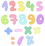 Polka dot numbers with stitches. Colorful polka dot numbers with stitches Stock Photo