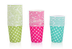 Polka dot paper cups Stock Photo