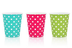 Polka dot paper cups Royalty Free Stock Image