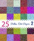 Polka dot paper. Set of 25 seamess patterns. Polka dot paper. Set 2 of 25 seamess colorful dotted patterns Stock Photography