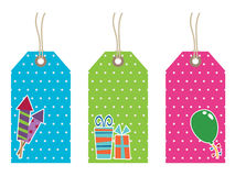 Polka dot party tags Stock Images