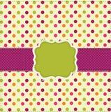 Polka dot patchwork design card. Polka dot patchwork design with frame Stock Image