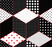 Polka dot patchwork on imitation of cubes surfaces Stock Images