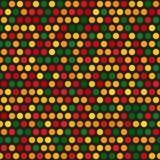 Polka dot pattern. Seamless vector. Background - red, light green, yellow, green, orange dots on black backdrop Stock Photography