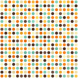 Polka dot pattern. Seamless vector retro background. Beige, brown, orange, yellow, green circles on white backdrop Stock Photography