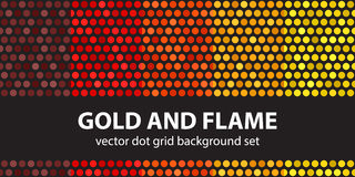 Polka dot pattern set Gold and Flame. Vector seamless geometric dot backgrounds: maroon, red, orange, gold, yellow circles on black backdrops Royalty Free Stock Image