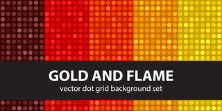 Polka dot pattern set Gold and Flame Stock Photography