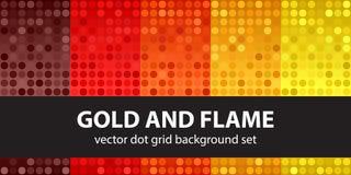 Polka dot pattern set Gold and Flame Royalty Free Stock Photos