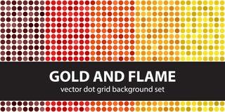 Polka dot pattern set Gold and Flame Royalty Free Stock Photo