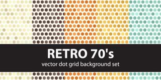Polka dot pattern set Retro 70`s Stock Photo