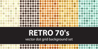 Polka dot pattern set Retro 70`s. Vector seamless geometric dot backgrounds: beige, brown, orange, yellow, green circles on white backdrops Stock Photography