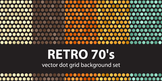 Polka dot pattern set Retro 70`s. Vector seamless geometric dot backgrounds: beige, brown, orange, yellow, green dots on black backdrops Royalty Free Stock Images