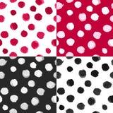Polka Dot Patterns Black White Red d'aquarelle de vecteur illustration de vecteur