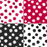 Polka Dot Patterns Black White Red dell'acquerello di vettore Fotografie Stock Libere da Diritti