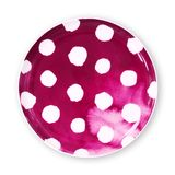 Polka dot plates, Plate with polka dot pattern watercolor style, View from above isolated on white background with clipping path stock image