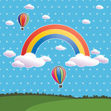 Polka dot rainbow. Blue polka dot sky with rainbow and hot air balloons
