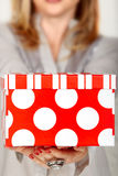 Polka dot red gift box Stock Photo