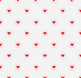 Polka dot red pattern with hearts. Vector Stock Photos