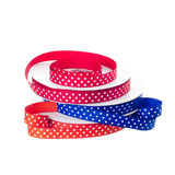 Polka dot ribbon rolls Stock Photo