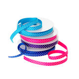 Polka dot ribbon rolls Royalty Free Stock Photo