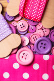 Polka dot ribbons and buttons Royalty Free Stock Photos