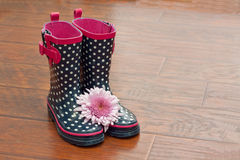 Polka dot rubber boots with flower. White and blue polka dot rubber boots with pink trim and buckle with a pink flower on a wood floor Royalty Free Stock Photos