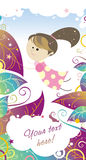 Polka dot's fairy girl. Colored illustration of fairy girl in tender polka dot dress on light background with colorful leaves and little colored decorative Royalty Free Stock Image