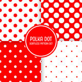 Polka dot seamless pattern background set. Red and white vector illustration.  Royalty Free Stock Photography