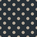 Polka dot seamless pattern on black background. Vector Illustration. Stock Photography