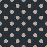 Polka dot seamless pattern on black background. Vector Illustration. stock photography