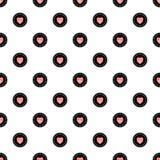 Polka Dot Seamless Pattern con i cuori Vector l'illustrazione, EPS10 Fotografia Stock