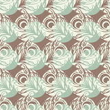 Polka dot seamless pattern. Feathers motif. Royalty Free Stock Photography
