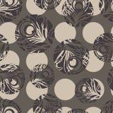 Polka dot seamless pattern. Feathers motif. Stock Photography