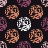 Polka dot seamless pattern. Feathers motif. Stock Images