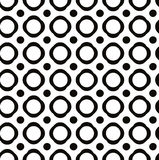 Polka dot seamless pattern with geometric figures, black and white infinite background with peas, dotted monochrome book cover, e royalty free illustration