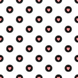Polka Dot Seamless Pattern with Hearts. Vector illustration, eps10. Stock Photo
