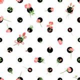 Polka Dot Seamless Pattern med blommor Vektorillustration, EPS10 royaltyfri illustrationer