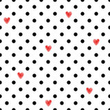 Polka dot seamless pattern with red hearts. Stock Photo