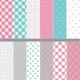 Polka Dot seamless pattern set Royalty Free Stock Images