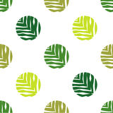 Polka dot seamless pattern on a white background. The texture of green leaves. Textile rapport Royalty Free Stock Photos